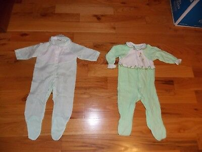 Carter's Vintage Baby Girl Sleepers Green Terry Cloth + Cotton