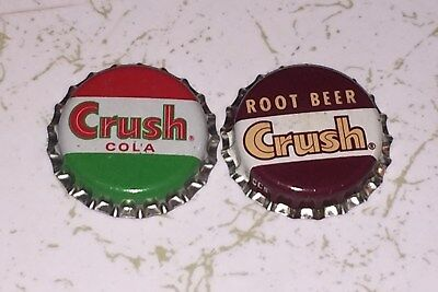 Two Near-Mint Crush Cola And Root Beer Cork-Lined Acl Soda Bottle Caps
