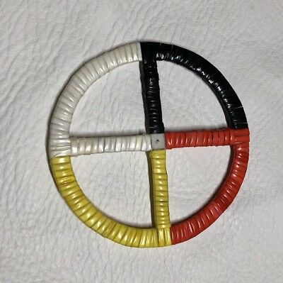 Totally Beautiful Lakota Quilled Large Medicine Wheel Quilled On Rawhide