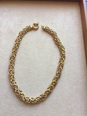 .925 Sterling Silver, Gold Plated, Byzantine Necklace 58.2g