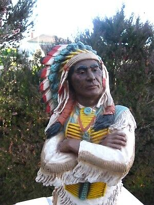 "30"" Proud Native American Chief 1980 Universal Statuary Corp. No. 752 Initialed"