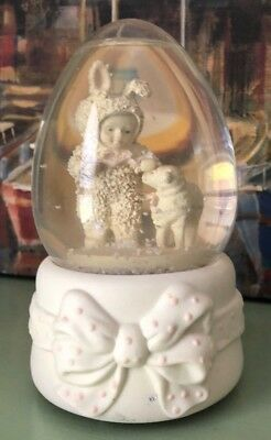 Dept 56 Snowbabies Easter Egg Musical SnowGlobe with Bunnies & lamb NO BOX