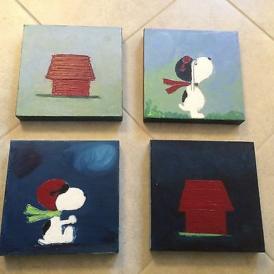 Snoopy Canvas Paintings, set of 4