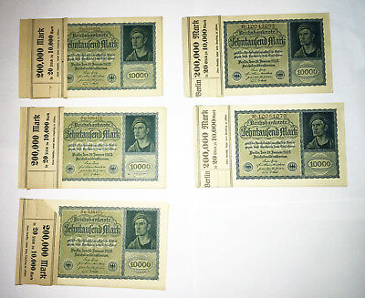 Lot of 100 Reichsbanknote 10000 German Marks 1922 notes w/ bank wrappers Berlin