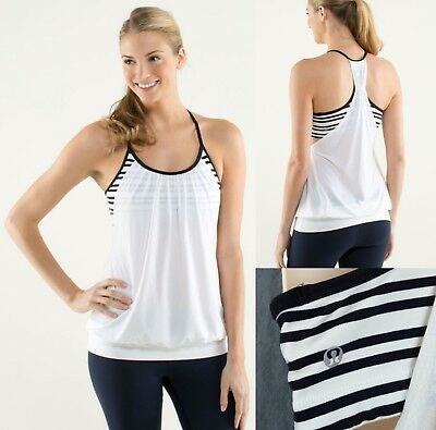 4ab41213efe Lululemon No Limit Tank Top White Twin Stripe Black size 6-8? Gym Yoga