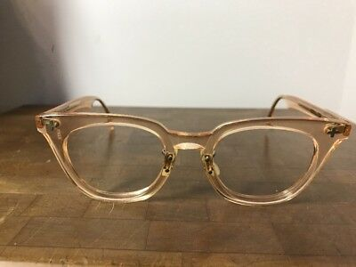 Vintage Bausch & Lomb Eyeglass 1960 Military Safety Peach/Nude/Beige Clear Frame