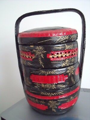 Vintage Chinese Wedding Box Black & Red Lacquer Stacking Box.