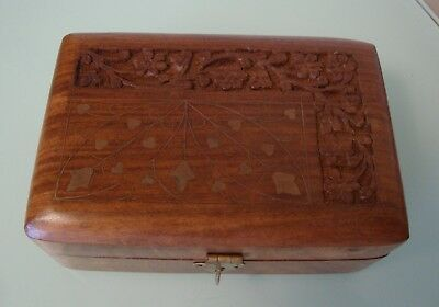 Vintage Solid Wooden Box with Inlaid Brass and Carved Lid Excellent Condition