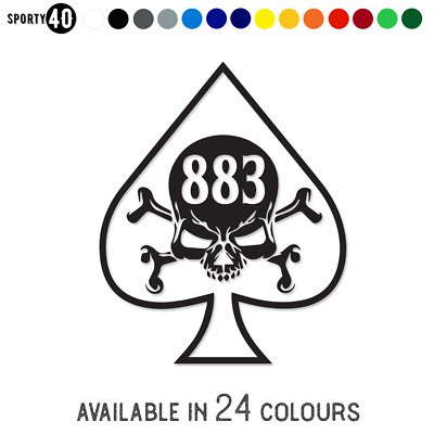 HARLEY DAVIDSON - Vinyl Sticker / Decal - Motorbike Iron 883 Ace of Spades Skull