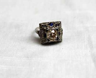 Magnificent French Art Deco Platinum White Gold Diamond Sapphire Ring Size 7.5