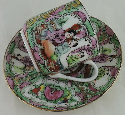 Chinese Demitasse Cup/saucer Set Rose Medallion Madarin Figurine Painted Famille