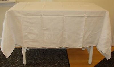 "Antique Fine Linen Damask Tablecloth - 88"" x 71"" - Tulips and Polka Dots"
