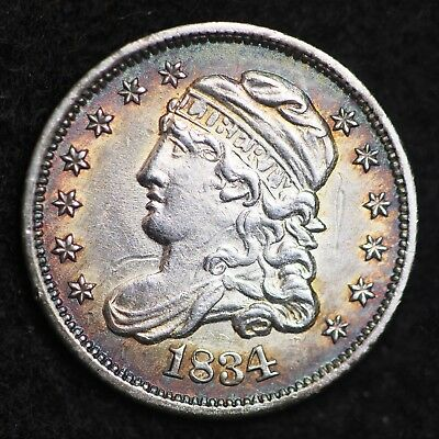 1834 Capped Bust Half Dime CHOICE UNC FREE SHIPPING E283 GCNM