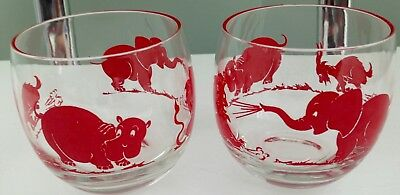 "4 Vintage MCM  Drinking Glasses Animals Swanky Swigs 3"" X 3"" Round Red RARE!"