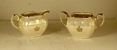 Vintage Iridescent Creamer and Open Sugar Made in England by Sadler