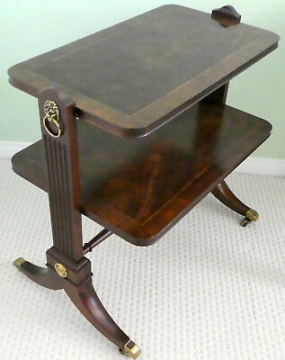 BAKER FURNITURE Butler's Service Table w/ Casters Empire 2 Two Tier Banded