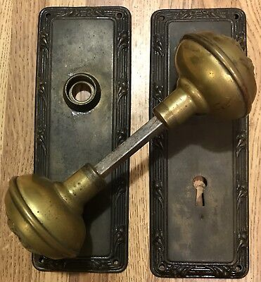 Vintage Early 1900 Brass Door Knobs And Back Plates