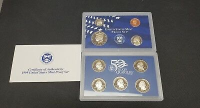 1999-S United States Coin Mint Proof Set 50 State Quarters 9 Coins In Box