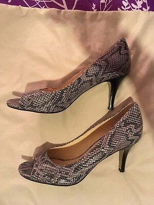 COLE HAAN Sz 7.5 B Air Pumps Open Toe Python Snake Embossed Leather Heels women