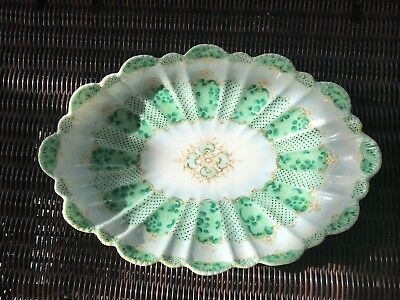 "Vintage Large 13"" Nippon Hand Painted Bowl In Pretty Irish Green On White Nice"