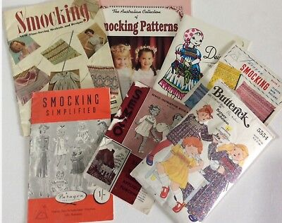 Vintage Smocking Books Patterns Lot  x 7 Paragon Semco Deightons Butterick