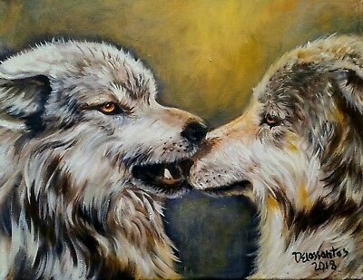 "PLAYFUL oil on canvas 14x18""original painting very tender moment between wolves"