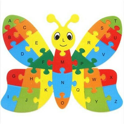 Wooden Blocks Kid Child Educational Alphabet Puzzle Jigsaw Toy ~Butterfly