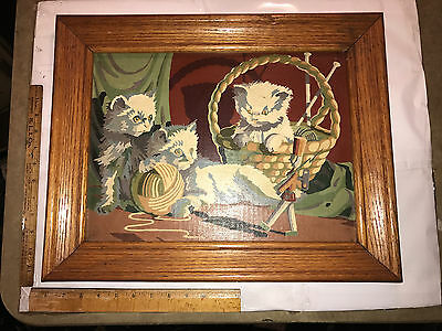 Great Early original Cat Painting oil? Wood Framed Three Cats 1950/60s on canvas