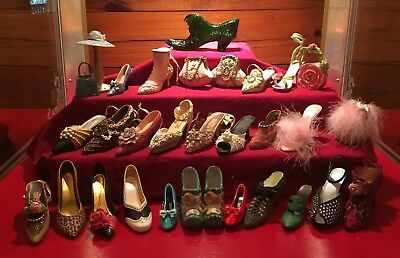 Lot of Shoe Figurines - Fenton Emerald Daisy Button Glass Boot, Just My Shoe