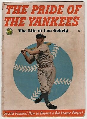 Pride of the Yankees, Life of Lou Gehrig 1949 baseball hero create-a-lot & save