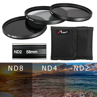 New ND ND2 ND4 ND8 58mm 58 mm Neutral Density 3pcs Filter Set Lens Kit LF62