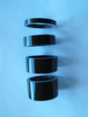 """CARBON 11/8"""" HEADSET SPACER SET- 4 of  (1 of each 5mm-10mm-15mm-20mm)"""