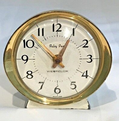 Vintage Retro Westclox Baby Ben Alarm Clock Cream/Gold Tone 50s/60s Wind-up