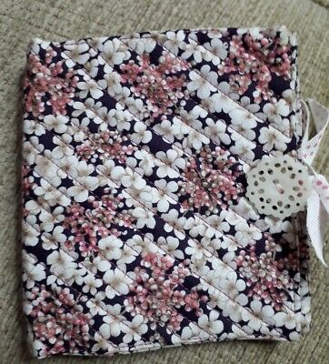 Quilted Handmade Needle Book Pink white floral RHS Fabric white doily button