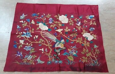 Antique Chinese Silk Rare Embroidery Textile Qing Dynasty Bird Wall Hanging art