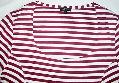 5d78559787 Jaeger Striped Scoop Neck Top Red White Stripes jersey 3/4 sleeve T Size S