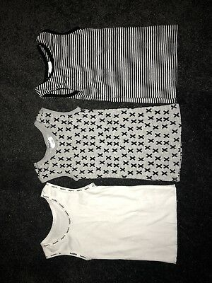 Stylish Baby White Gray and Black Singlets Bundle Size 0-3 Months