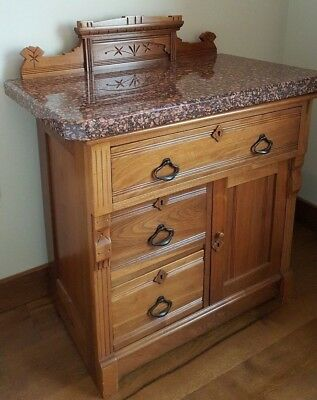 Antique Burl Wood Walnut Washstand with Marble Top & original pulls