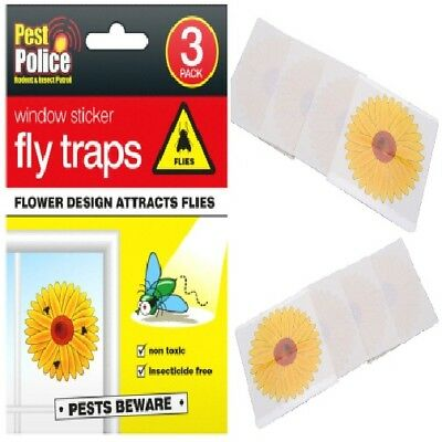 3 Fly Trap Insect Insects Killer Bug Flower Window Sticker Fly Glue Sticky Traps