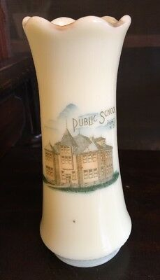 1900's Souvenir Custard Glass Vase Public School Perth North Dakota Vtg