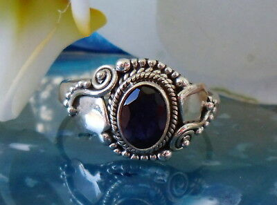 Ring Indian Sapphire Blue Stone of the September Spiral Made Sterling Silver 925