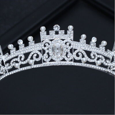 3.5cm High Full Clear Crystal Wedding Bridal Party Pageant Prom Tiara Crown