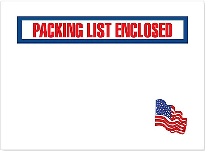 "American Flag Packing List Envelopes 1000Ct - 4 1/2 x 5 1/2""  4.5 x 5.5 S-7815"