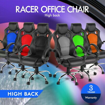 Racing Office Chair Sport Executive Computer Gaming PU Leather Mesh R22