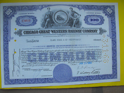 USA Amerika Chicago Great Western Railway alte Aktie 1968 Eisenbahn deko