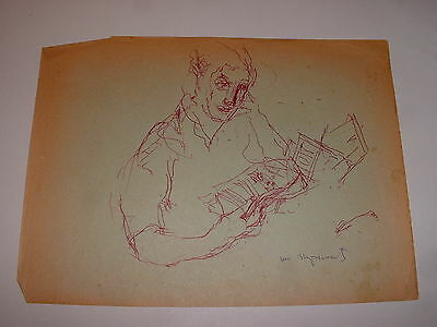 William Meyerowitz Very Rare Early Original Drawing Man Reading Listed Art