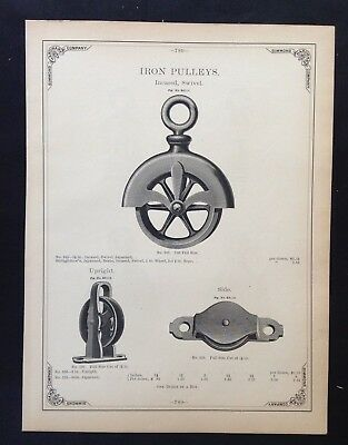 1888 Vintage Simmons Hardware Catalog Pg ~ Awning & Tackle Iron Pulley