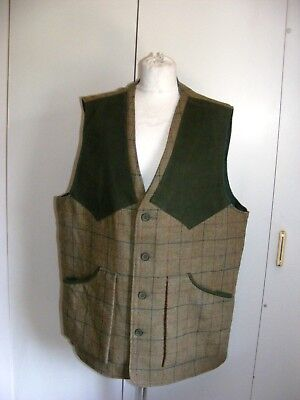 """Vintage tweed shooting jerkin waistcoat gilet English Country Squire 52"""" chest"""