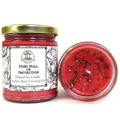 Fiery Wall of Protection 6oz Soy Candle Spell Hoodoo Voodoo Wiccan Pagan Conjure