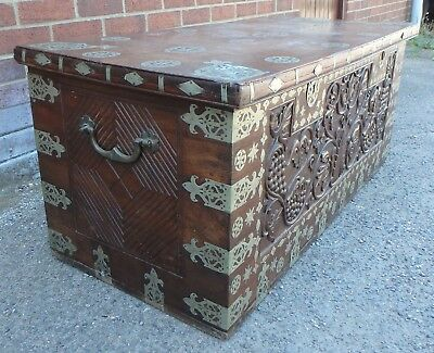 C1800 Anglo Indian solid rosewood nickel inlaid carved coffer blanket box trunk